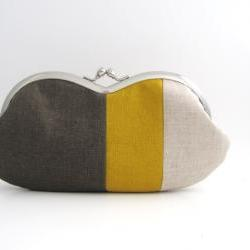 Sunglasses Case/ Frame Clutch Purse - linen patchwork- dark brown and mustard yellow
